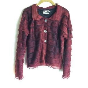Treadle Design Room rust ruffled fabric jacket.